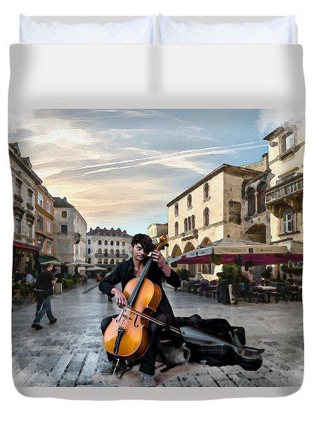 Street Music. Cello. Duvet Cover