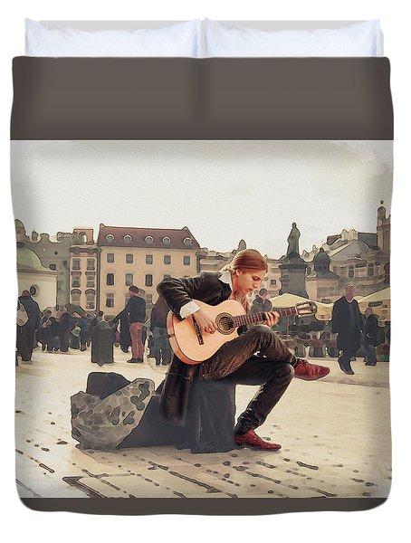 Street Music. Guitar. Duvet Cover
