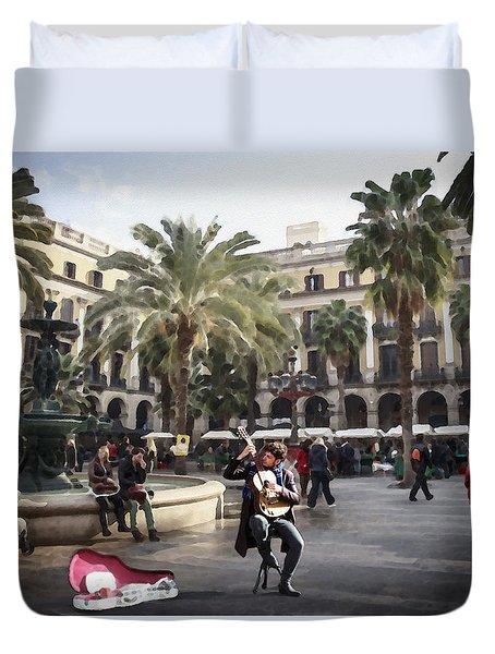 Street Music. Guitar. Barcelona, Plaza Real. Duvet Cover