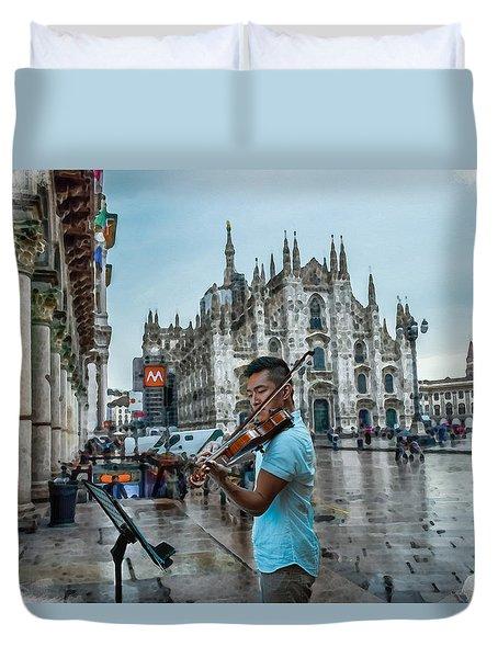 Street Music. Violin. Duvet Cover