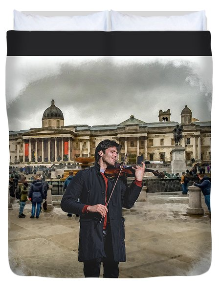 Street Music. Violin. Trafalgar Square. Duvet Cover