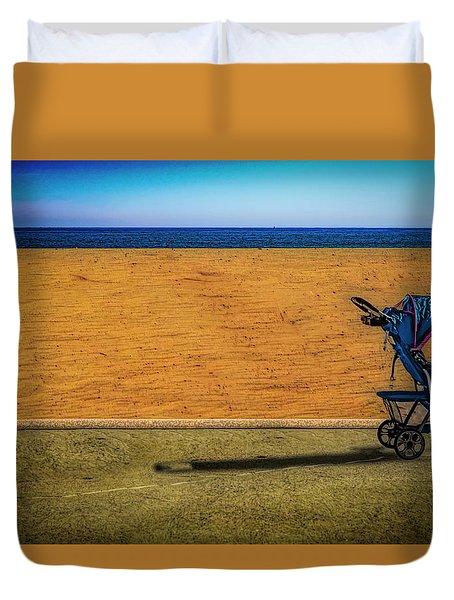 Stroller At The Beach Duvet Cover