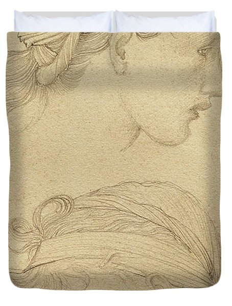 Study Of The Heads Of Two Girls Duvet Cover