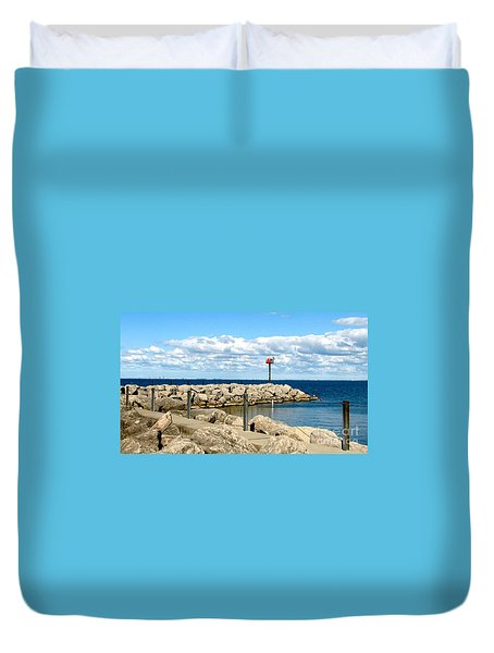 Duvet Cover featuring the photograph Sturgeon Point Marina On Lake Erie by Rose Santuci-Sofranko