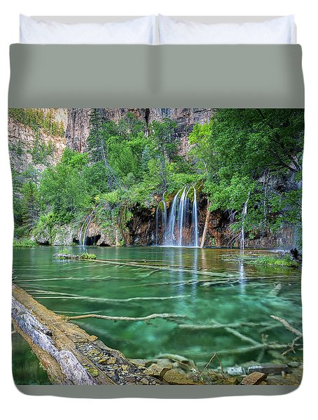 Duvet Cover featuring the pastel Submerged Log, Hanging Lake Colorado by Nathan Bush
