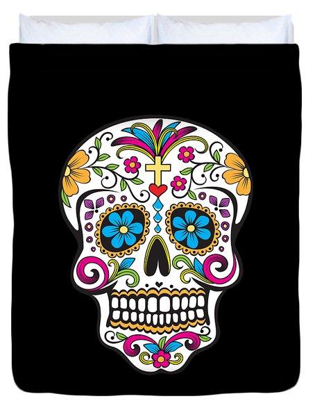 Sugar Skull Day Of The Dead Duvet Cover