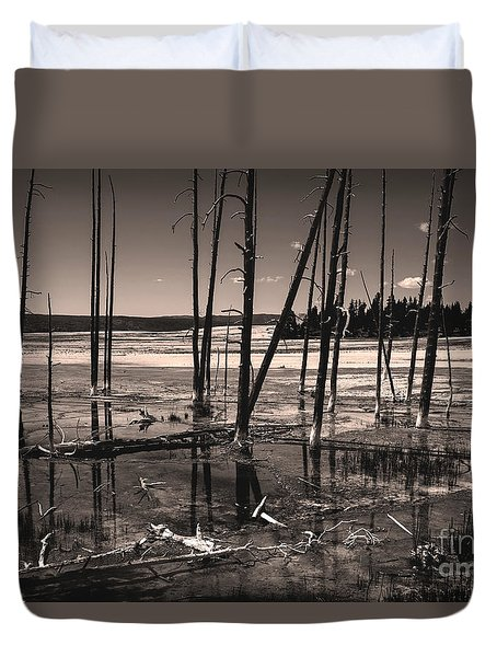 Duvet Cover featuring the photograph Sulfur Field by Mae Wertz