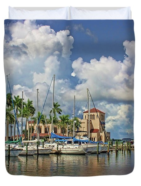 Summer At The Waterfront Marina Duvet Cover
