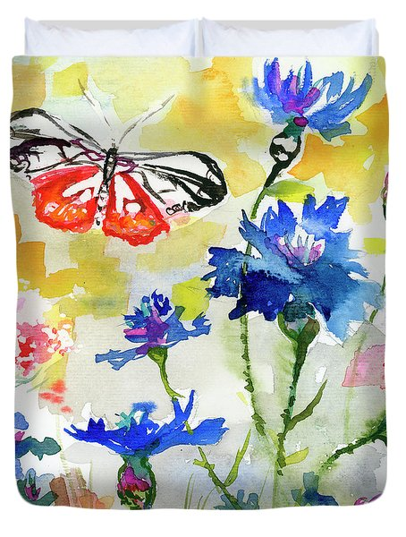 Summer Butterfly In Cornflowers Duvet Cover