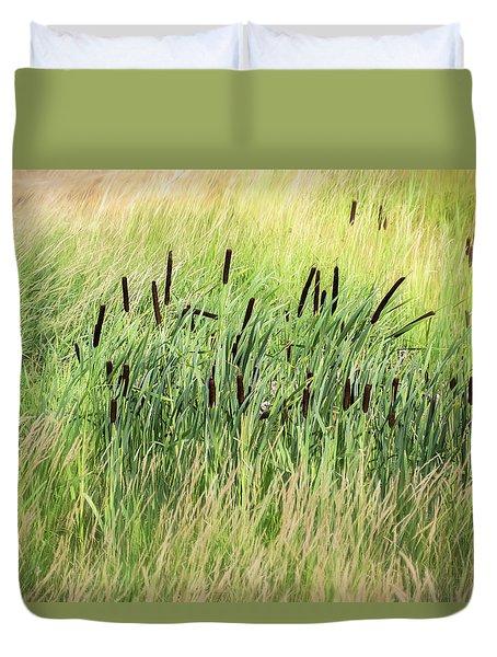 Summer Cattails In Field Of Grass - Duvet Cover