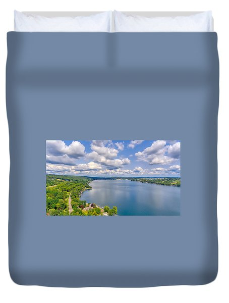 Summer Clouds On Keuka Lake Duvet Cover