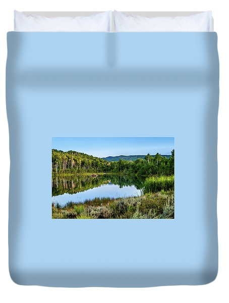 Duvet Cover featuring the photograph Summer Cove At Ivie Pond by TL Mair