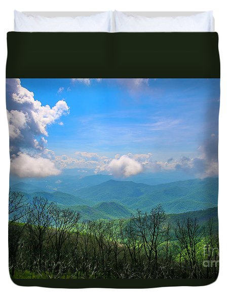Duvet Cover featuring the photograph Summer Mountain View by Tom Claud