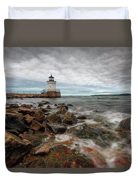 Summer Tides At Bug Light Duvet Cover
