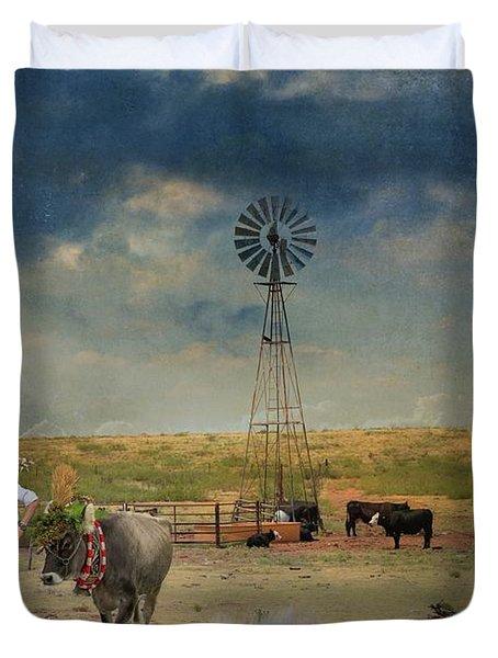 Summertime On The Country Farm Duvet Cover