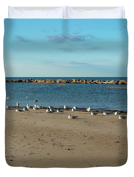 Sun Bathers At Corporation Beach Cape Cod Duvet Cover