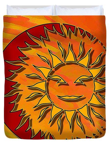 Sun Eclipsing The Moon Duvet Cover