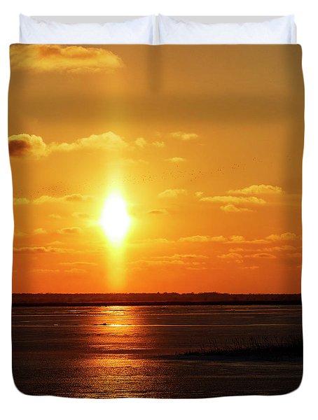 Duvet Cover featuring the photograph Sun Pillar 01 by Rob Graham