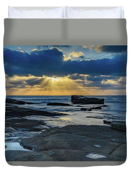 Sun Rays Burst Through The Clouds - Seascape Duvet Cover
