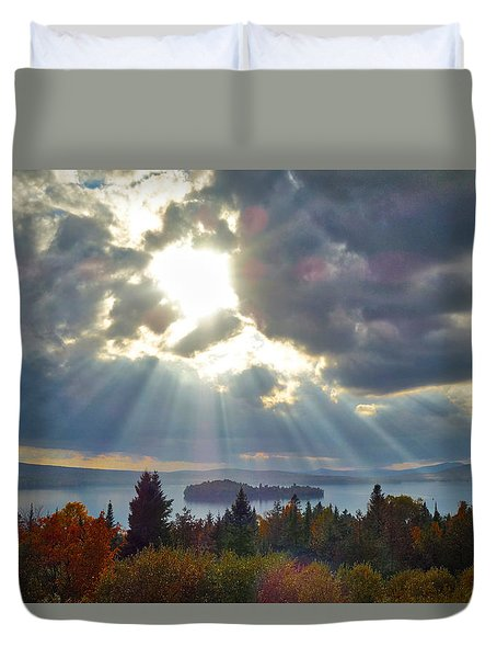 Sun Rays Over Rangeley Lake Duvet Cover