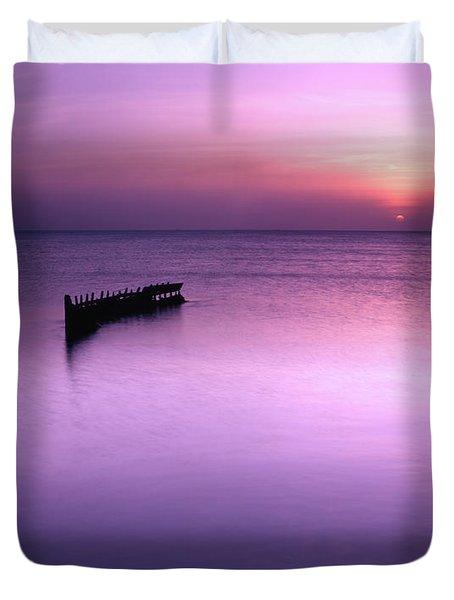 Sun Sets On A Sunken Boat Duvet Cover