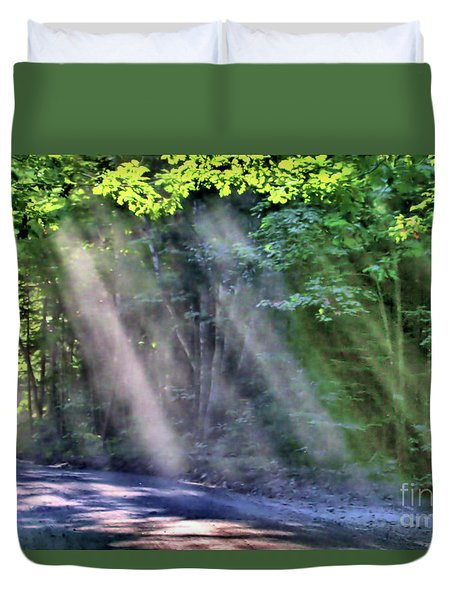 Duvet Cover featuring the photograph Sun Streaks by Debbie Stahre