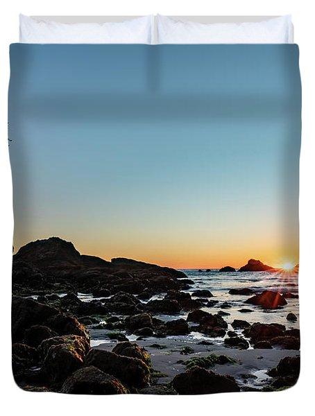 Sunburst At The Beach Duvet Cover