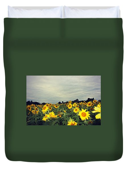Duvet Cover featuring the photograph Sunflower Fields by Candice Trimble