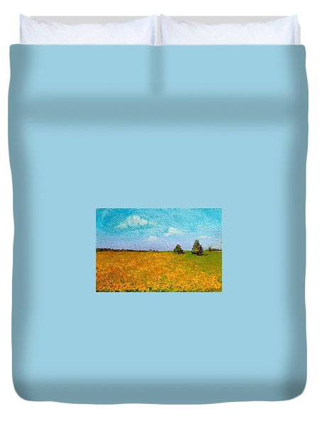 Duvet Cover featuring the painting Sunflower Fields-end Of Summer by Asha Sudhaker Shenoy