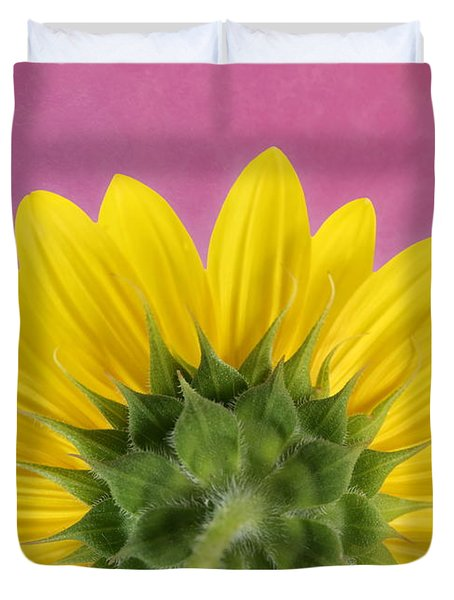 Duvet Cover featuring the photograph Sunflower On Pink - Botanical Art By Debi Dalio by Debi Dalio