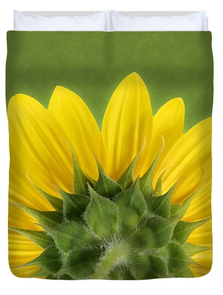Duvet Cover featuring the photograph Sunflower Sunrise - Botanical Art by Debi Dalio