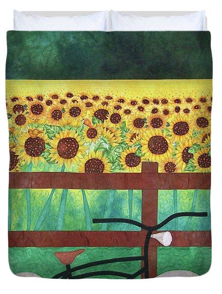 Sunflowers At Whitehall Farm Duvet Cover