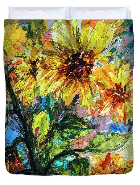 Sunflowers Summer Flowers Mixed Media Duvet Cover