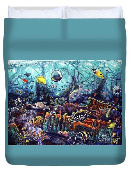 Sunken Tiki Reef Duvet Cover