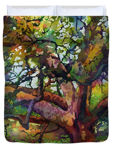 Duvet Cover featuring the painting Sunlit Century Tree by Hailey E Herrera