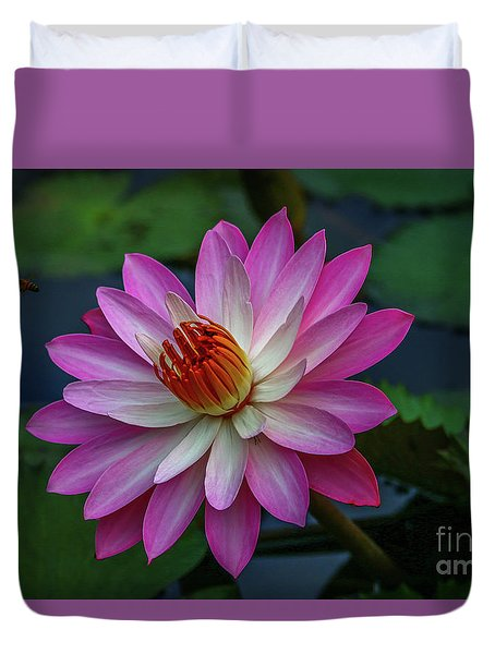 Duvet Cover featuring the photograph Sunlit Lily by Tom Claud