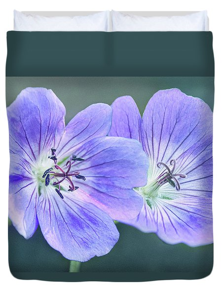 Duvet Cover featuring the photograph Sunny Blooms by Leda Robertson