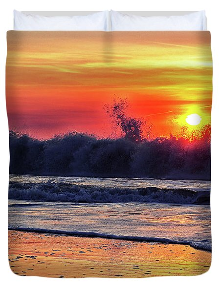 Duvet Cover featuring the photograph Sunrise At 142nd Street Beach Ocean City by Bill Swartwout Fine Art Photography