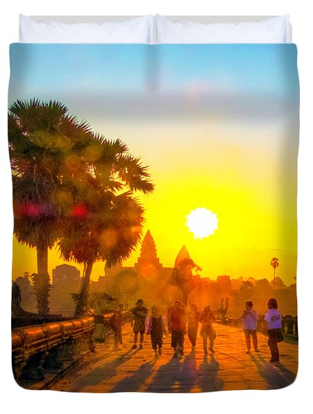 Sunrise At Angkor Wat, Cambodia Duvet Cover