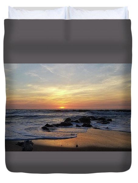 Duvet Cover featuring the photograph Sunrise At The 15th St Jetty by Robert Banach