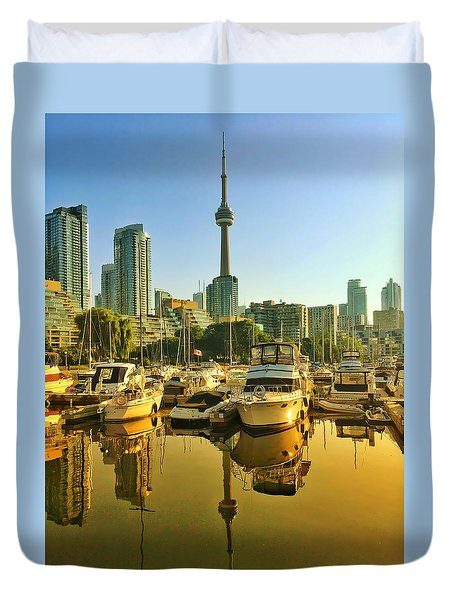 Sunrise At The Harbour Duvet Cover