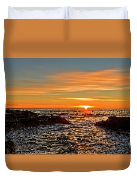 Sunrise By The Mediterranean Sea In Oropesa, Castellon Duvet Cover