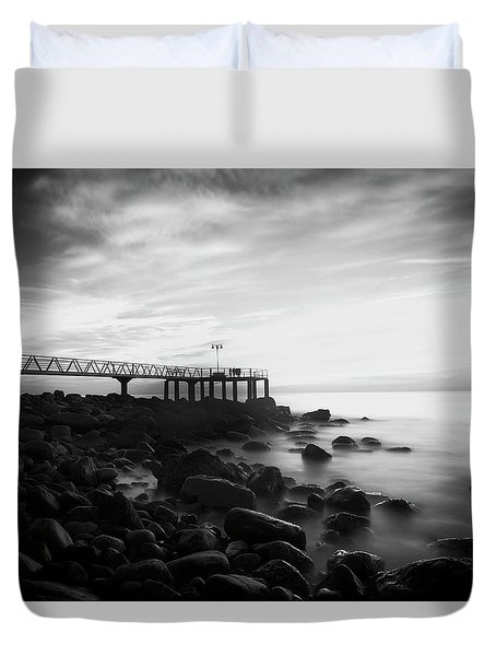Sunrise In Black And White Duvet Cover