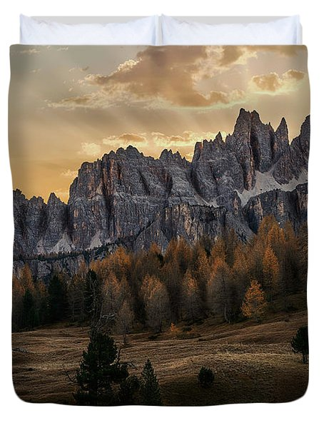 Sunrise In The Dolomites Duvet Cover