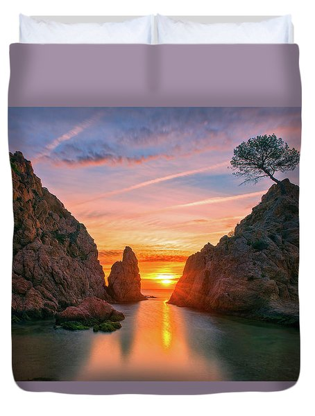 Sunrise In The Village Of Tossa De Mar, Costa Brava Duvet Cover
