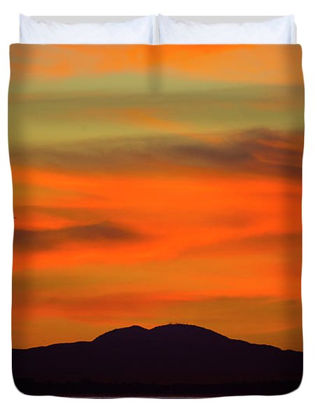 Sunrise Over Santa Monica Bay Duvet Cover