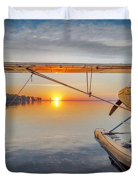 Sunrise Seaplane Duvet Cover