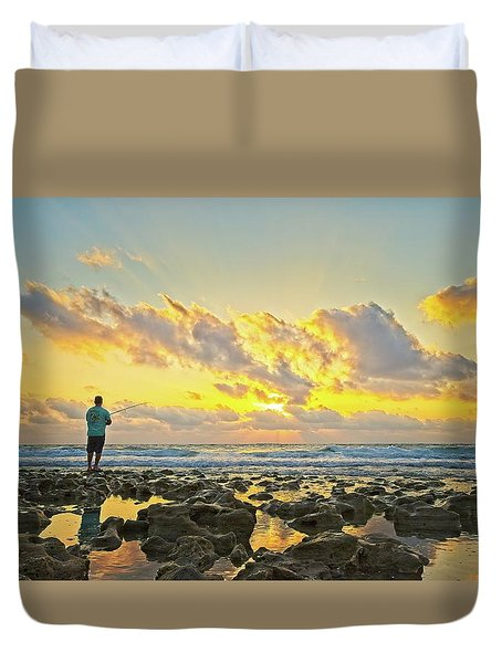 Sunrise Surf Fishing Duvet Cover