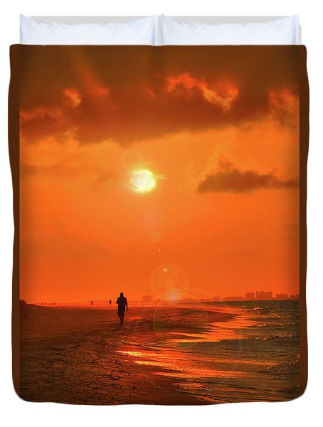 Sunrise Walk On Sanibel Island Duvet Cover
