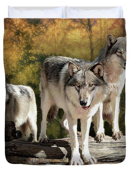 Sunrise Wolves Duvet Cover